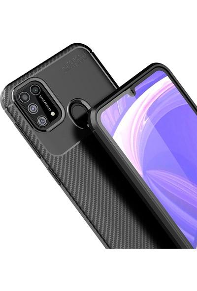 Happyshop Samsung Galaxy M31 Kılıf Karbon Desenli Lux Negro Silikon + Cam Ekran Koruyucu