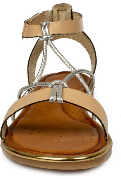 Piarmoni Msm Trend Sandals 2304 Cırtlı Krem Çocuk Sandalet