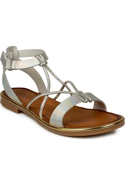 Piarmoni Msm Trend Sandals 2304 Cırtlı Gümüş Çocuk Sandalet