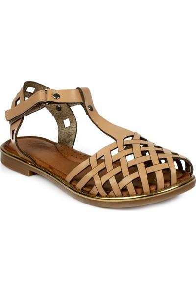 Piarmoni Msm Trend Sandals 2311 Cırtlı Krem Çocuk Sandalet