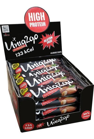 UNIQ2GO Power Midi 16'lı Kutu %100 Naturel Badem Parçaıklı Proteinli Bar 38 gr