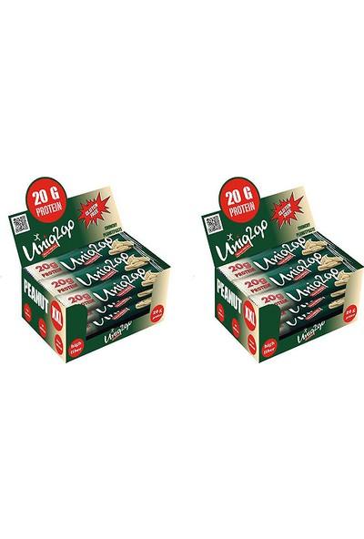 UNIQ2GO Peanut XXL - Fıstık Ezmeli XXL Proteinli Bar 12'li Kutu X2 Kutu 24 Adet