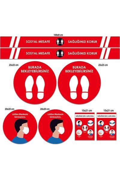 BRN Sosyal Mesafe Uyarı Sticker Seti Kırmızı