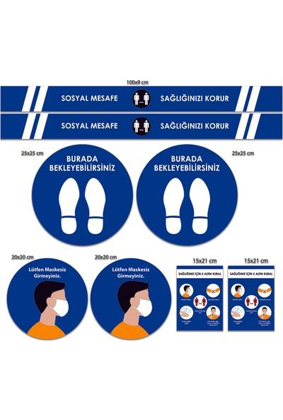 BRN Sosyal Mesafe Uyarı Sticker Seti Mavi
