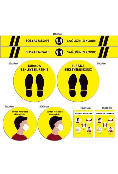 BRN Sosyal Mesafe Uyarı Sticker Seti Sarı