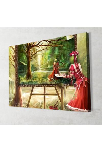 Artas Anime Resim Yapan Kız Kanvas Tablo