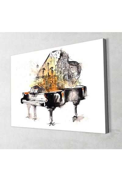 Artas Sulu Boya Efektli Illüstrasyon Piyano Kanvas Tablo