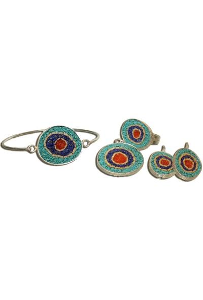 Antik Mozaik Nazar Gözü Gümüş Set 5 Parça - Lapis Firuze Mercan ve Kuvars Taşlardan 925 Ayar Gümüş Set