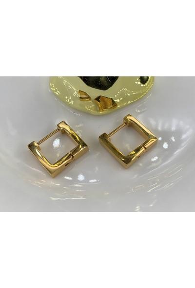 Lily Takı Minimal Kare Kadın Gold Renk Çelik Küpe