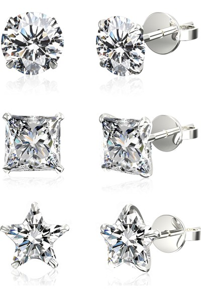 Jewelry For Light 3'lü Set 4 mm Tektaş Yuvarlak Prenses Yıldız Kesim Kübik Zirkon Pimli Gümüş Küpe