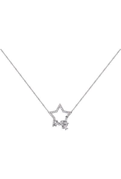 Dalman Si̇lver Taşlı Yıldız Gümüş Kolye