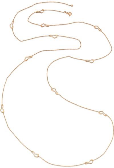 Dalman Si̇lver Stilize Kalp Ara Parçalı Uzun Zincirli Gümüş Kolye