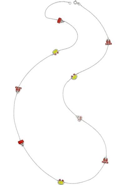 Dalman Si̇lver Renkli Ara Parçalı Uzun Zincirli Yeni Yıl Kolyesi