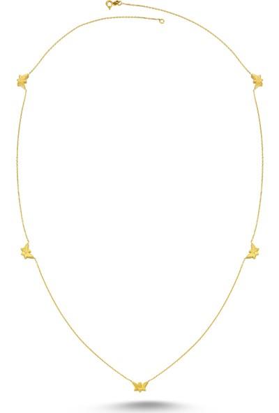 Dalman Si̇lver Kelebek Ara Parçalı Uzun Zincirli Gümüş Kolye