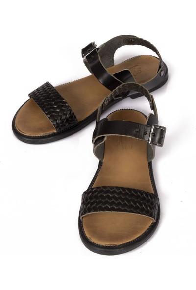Beety Örgü Bantlı Siyah Kadın Sandalet-CD2992029
