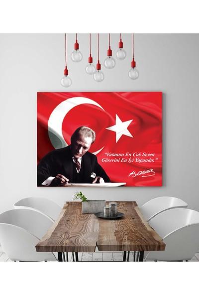 Artas Ay Yıldız Bayrak ve Atatürk Kanvas Tablo