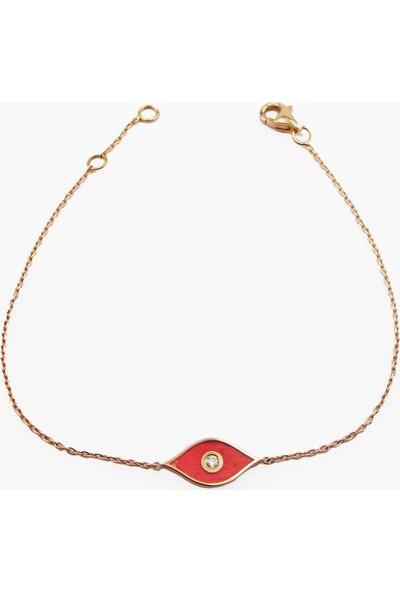 Şakar Gold Pırlanta Kırmızı Mineli Mekik Form 18 Ayar Bileklik
