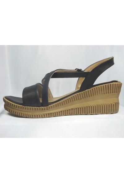 Tria Siyah Kadın Dolgu Sandalet DSCF4170