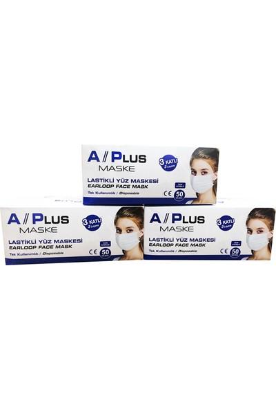 A Plus Tek Kullanımlık 3 Katlı Telli Cerrahi Maske 50 Adet 3'lü