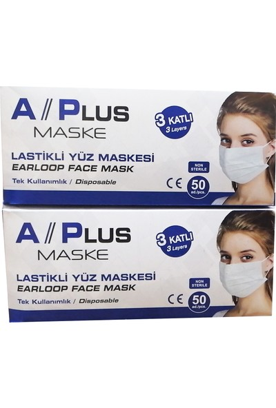 A Plus Tek Kullanımlık 3 Katlı Telli Cerrahi Maske 50 Adet 2'li