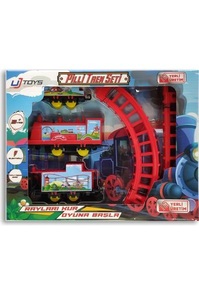 UJ Toys Pilli Raylı Vagonlu Oyuncak Tren Seti Kırmızı