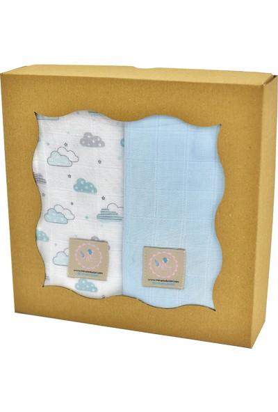 Mina'nın Düşleri Bebek Müslin Seti Mavi Bulut Mavi 4'lü