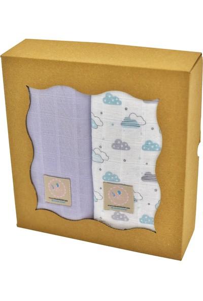 Mina'nın Düşleri Bebek Müslin Seti Mavi Bulut Gri 4'lü