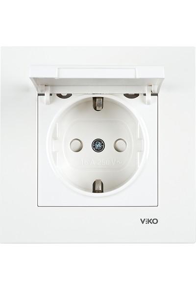 Viko Viko Karre/Meridian Beyaz Kapaklı Topraklı Priz Mekanizma Çerçeve Hariç