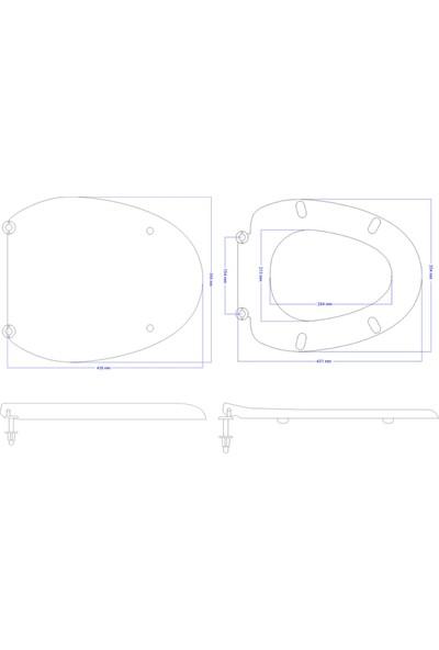 Öge Classform Bergama Klozet Kapağı-Alttan Sıkmalı -Metal Menteşeli