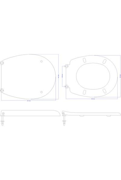 Öge Classform Akdeniz Klozet Kapağı-Alttan Sıkmalı -Metal Menteşeli