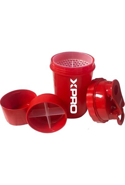 Xpro Nutrition 3 Bölmeli Shaker 500 ml Kırmızı