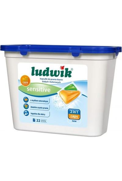 Ludwik Sensitive Ikisi Bir Arada Sıvı Kapsül Çamaşır Deterjanı Beyazlar ve Renkliler Için 22 Yıkama