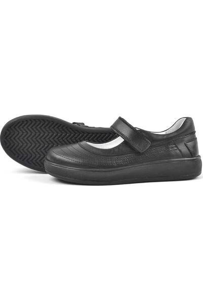 N Trend Deri Siyah Full Cırtlı Kız Çocuk Babet Okul Ayakkabısı