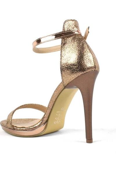 Allina Ince Tek Bant Gold Rose Yüksek Topuklu Kadın Ayakkabı