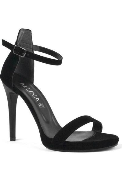 Allina Ince Tek Bant Siyah Süet Yüksek Topuklu Kadın Ayakkabı