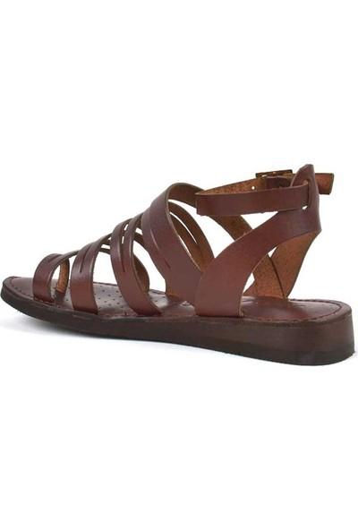 Moda Arena Kahverengi Deri Kadın Bodrum Sandalet