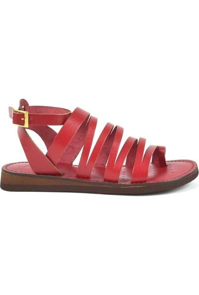 Moda Arena Kırmızı Deri Kadın Bodrum Sandalet