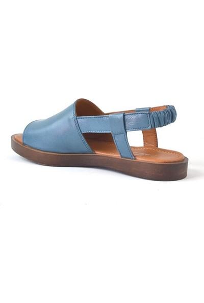 Moda Arena Mavi Deri Kadın Sandalet