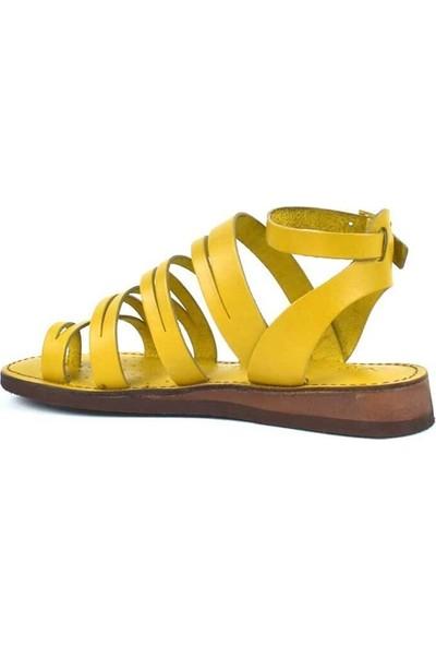 Moda Arena Sarı Deri Kadın Bodrum Sandalet