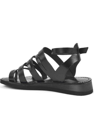 Moda Arena Siyah Deri Kadın Bodrum Sandalet