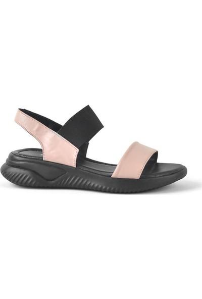 Moda Arena Siyah Pembe Deri Lastikli Kalın Taban Kadın Sandalet