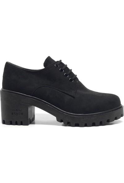 N Trend Siyah Süet Bağcıklı Topuklu Oxford Kadın Ayakkabı