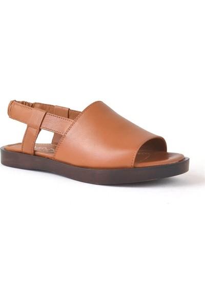 Moda Arena Taba Deri Kadın Sandalet