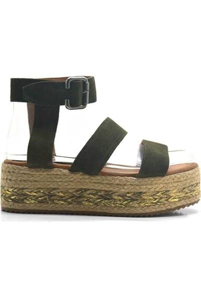 N Trend Yeşil Nubuk Deri Bantlı Dolgu Topuk Kadın Sandalet