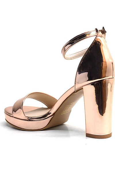Esstii Rose Gold Aynalı Tek Bant Platform Topuk Abiye Kadın Ayakkabı