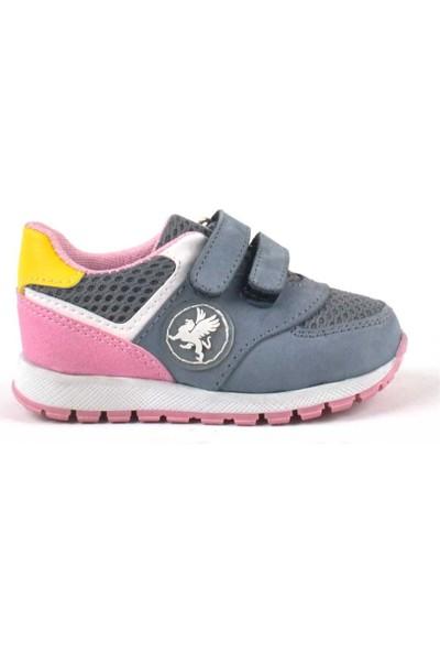 Rakerplus Deri Gri Cırtlı Kız Bebek Spor Ayakkabı