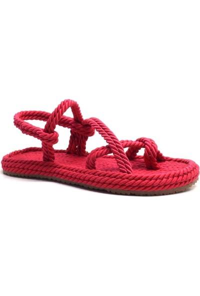 Pino Casual Kırmızı Parmak Arası Kadın Halat Ip Sandalet