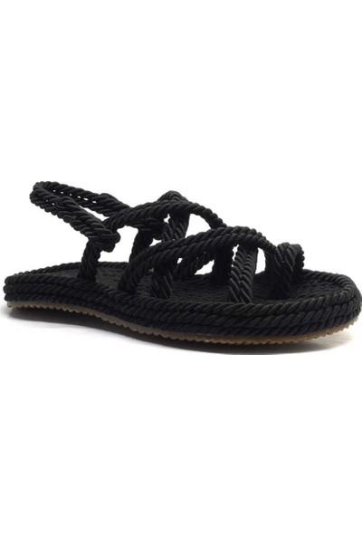Pino Casual Siyah Parmak Arası Kadın Halat Ip Sandalet