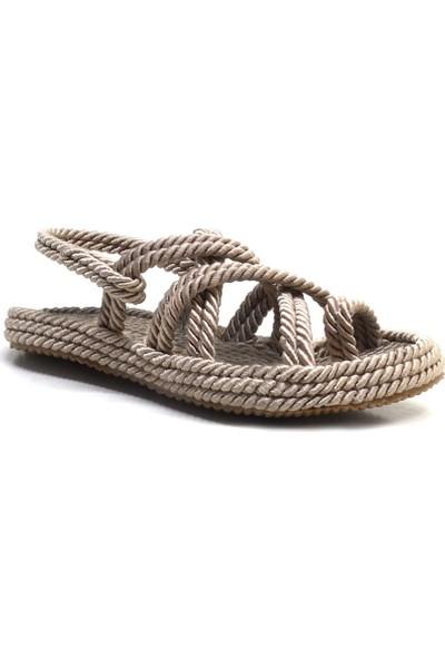 Pino Casual Vizon Parmak Arası Kadın Halat Ip Sandalet