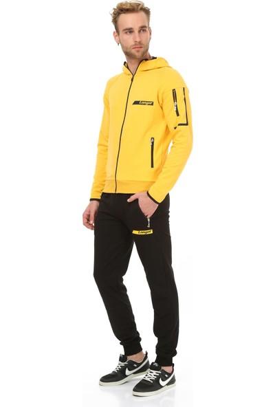 Longer Sarı Kapüşonlu Sportif Erkek Eşofman Takımı
